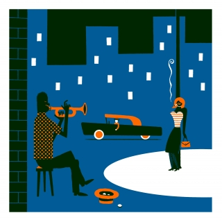 Man playing trumpet in the street for a woman