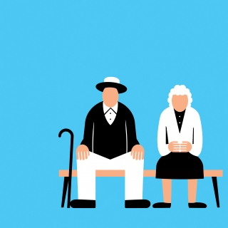Grandparents sitting on the bench