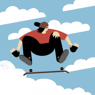 Skater jumping  in the sky