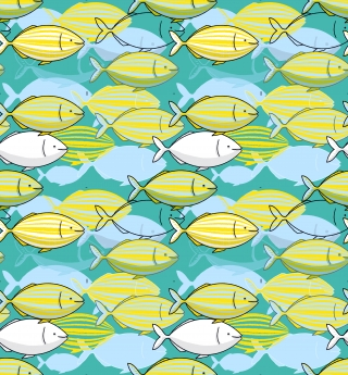 Dreamfish school of yellow salpa salpa fishes illustration pattern featuring some Mediterranean fishes on a mint background .jpg