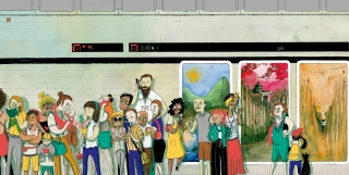 """Aqui, Ali e Acola"" children's book: People in the Subway.jpg"