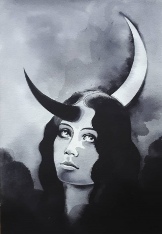 Nocturnal. My most recent work. The inspiration behind this was basically my struggle with insomnia for a few months. The crescent piercing her forehead is also meant to be a symbol of nocturnality.