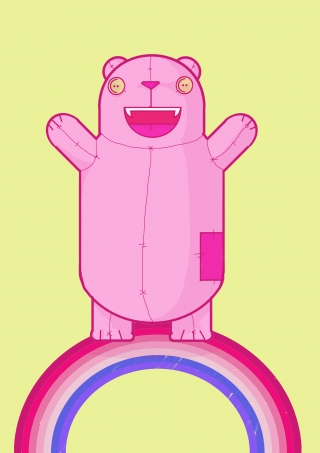 Creepy cute funny kawaii pink bear standing on a rainbow on a lime green yellow background