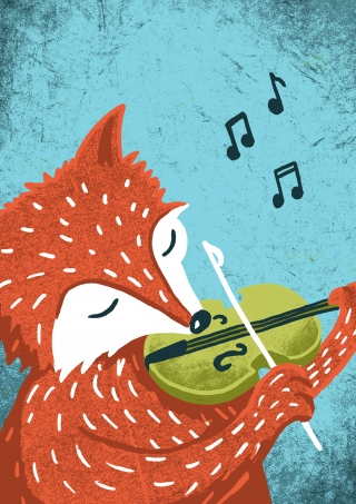 Orange Fox with green Fiddle playing  a tune.jpg
