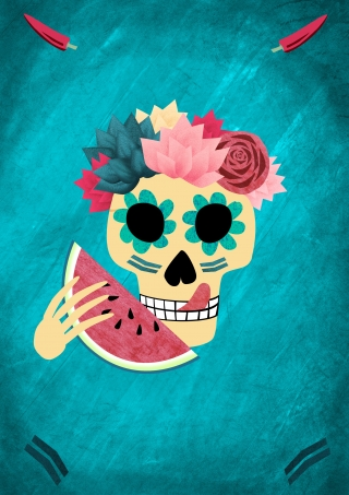 Mexican decorated skull eating a slice of melon, poster for Dia De Los Muertos.jpg