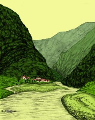 Green Himalayan valley during monsoon season