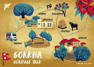 Illustrated Map of Gorkha Heritage Trek in Gorkha District, Nepal