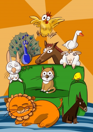 Farm animals & lion on couch