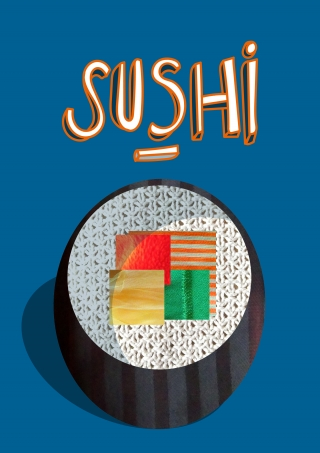 Maki-sushi created with textil pieces