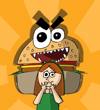 Burguer monster stalking a girl.jpg
