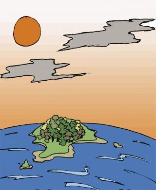 Island sunset landscape