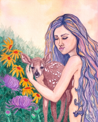 Beautiful rainbow-haired girl with cute fawn and flowers..jpg