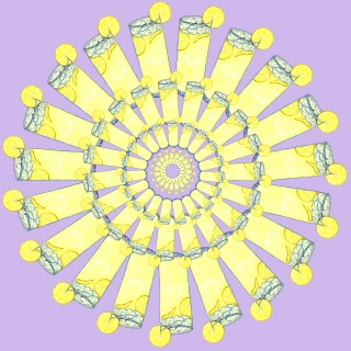 Circular pattern of lemonade in tall glasses with a lilac background.