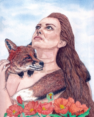 Woman with a fox wrapped around her shoulders..jpg