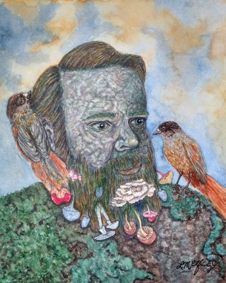 Father nature: stone figure of a man with two birds and mushrooms growing from his beard.