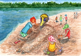 A family of seahorses playing on the beach..jpg