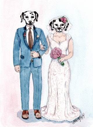 Human-animal hybrid wedding portrait: a bride and groom humans with dalmatian heads.