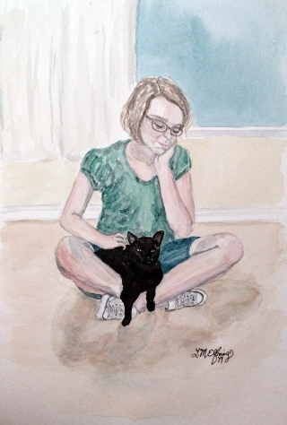 Girl petting a black cat sitting in her lap..jpg