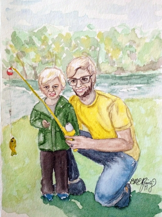 A little boy and his father fishing..jpg