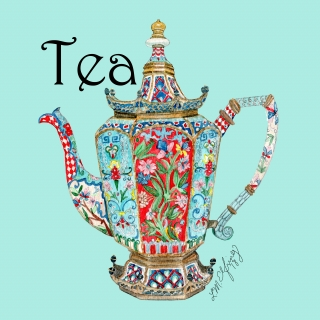 Floral teapot with a blue background..jpg