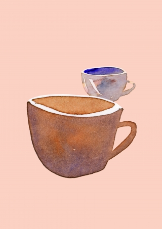 Two tea cups, water colour