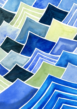 Pattern of blue waves, watercolour