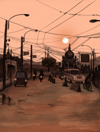 Evening traffic in a polluted South Asian city, temples and wires in the background