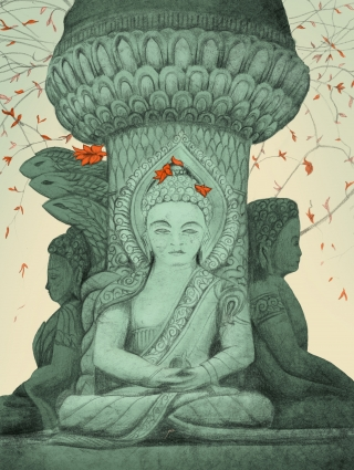 Drawing of Buddha statue with red flowers.jpg