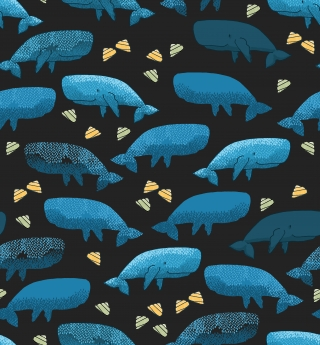 Blue whale with yellow seashells on dark grey background pattern.jpg