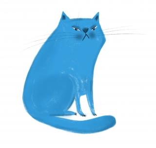 frowning blue cat