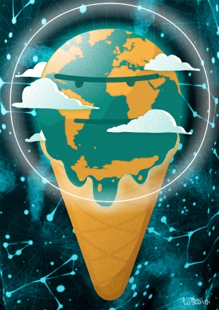 grumpy melting planet earth icecream climate change crisis conceptual illustration