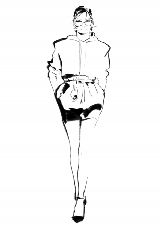 Fasion Draft of Girl in a Coat with Glasses and Hoodie