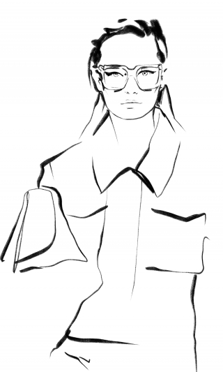 Fasion Draft of Girl in a Coat with Glasses
