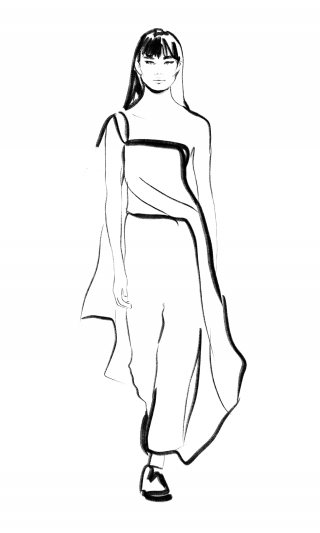 Asian Fashion model on runway, sketch