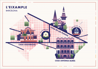 Flat style Map of Barcelona Neighbourhood with Street Grid