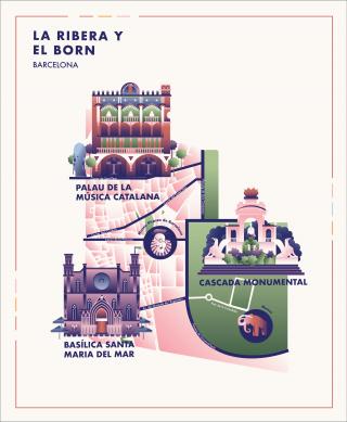 La Ribera y el Born Barcelona City Map with Flat Buildings.png