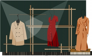 Clothes on the Rack with Coats and Red Dress