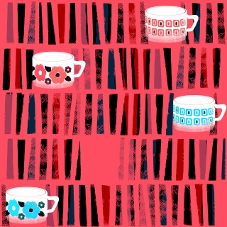 grandma coffee cups seamless pattern inspired by white arcopal design coffee cups and mugs from the fifties with floral decor and geometric design on pink background with stripes