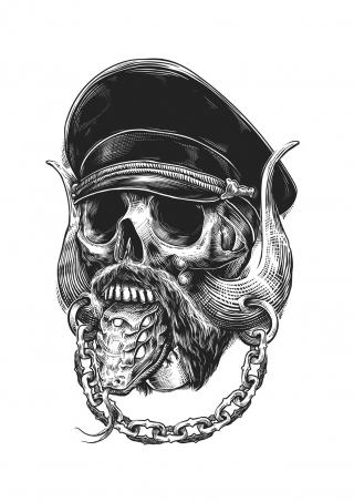 Skull on linocut style