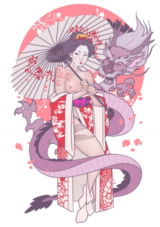 Geisha Girl with a Dragon