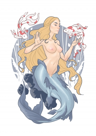 Naked Mermaid Uncensored with breasts and tail