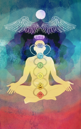 Kundalini and  chakras, man sitting in yoga lotus position,  on rainbow colored background