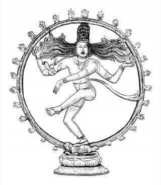 Dancing SHIVA ink illustration