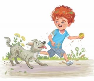 Little boy 4 runs with his dog.
