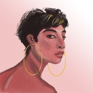 The Girl With Golden Hoop Pink Background_1700x1700