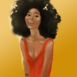Woman With The Afro Yellow Background