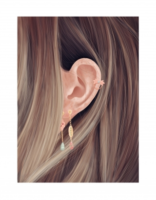 Earings in female hair