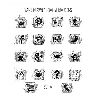 Hand Drawn Social Media Icons - Set A