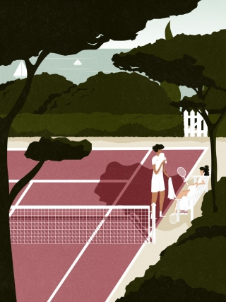 Man and woman taking a water break after playing tennis..jpg