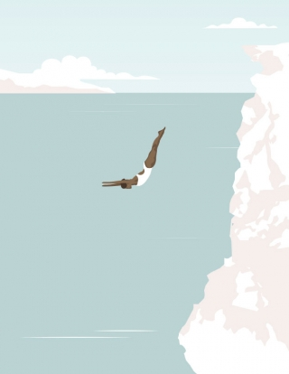 Woman diving off a cliff in the ocean. (Breathe magazine collaboration).jpg
